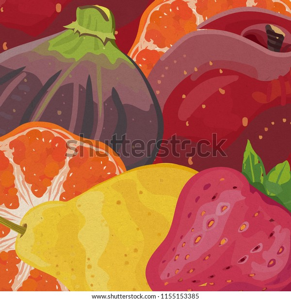 Square colorful illustration of fruits background with purple fig, orange, peach, pink strawberry and yellow pear