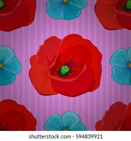 Square composition with abstrct vintage multicolored poppies. Seamless pattern with stylized poppies on a pink background.