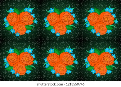 Square composition with abstrct vintage roses with green leaves. Raster seamless pattern with stylized green, orange and blue roses.