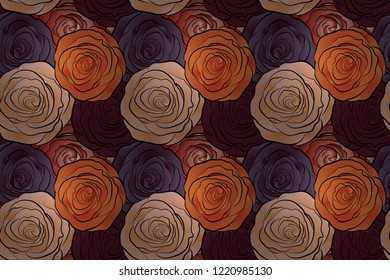 Square composition with abstrct vintage roses. Raster seamless pattern with stylized beige, purple and orange roses.