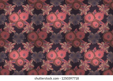 Square composition with abstrct vintage roses. Raster seamless pattern with stylized purple, beige and pink roses.