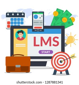 Square concept of learning management system - LMS. Man avatar on computer monitor, elements for distance education, smart phone, agenda calendar, money in flat style on map background