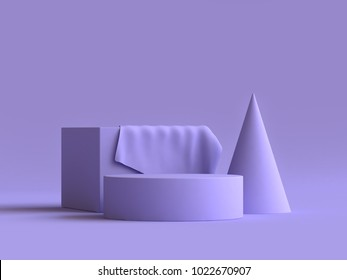 square cone abstract geometric shape group set violet-purple minimal abstract background 3d rendering