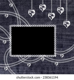 Square denim background with crystal pendants and frame