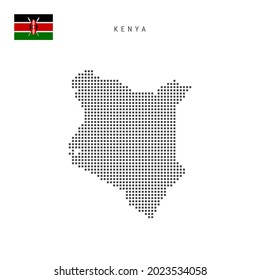 Square dots pattern map of Kenya. Kenyan dotted pixel map with national flag isolated on white background. illustration.