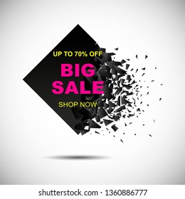 Square explosion. Debris, square shape on white. Abstract template can be used for poster, flyer, label, discount, sale, black Friday sale, as background, graphic, design element. Raster version.