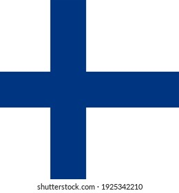 Square Finnish National Flag Blue and White
