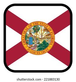 Square flag button series - Florida