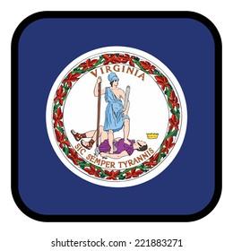Square flag button series - Virginia