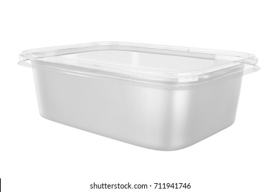 Square Food plastic Container with Clear Cover Mockup for Design Project - Mock Up 3D illustration Isolate on White Background