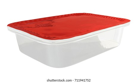 Square Food plastic Container with Foil Cover Mockup for Design Project - Mock Up 3D illustration Isolate on White Background