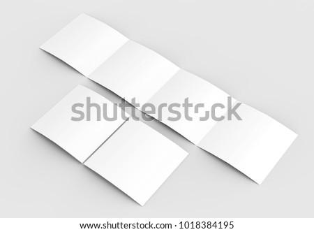 square four folded 4 fold brochure mockup stock illustration