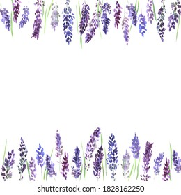 Square frame with lavender flowers on a colored background. Lilac lavender flowers, illustration for wedding decoration, postcards, fabrics, printing, clothing