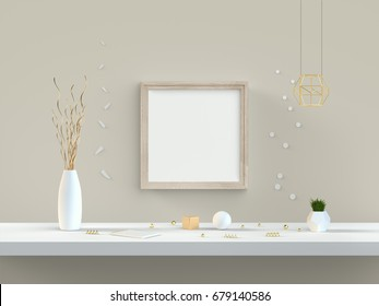 Square frame mockup 3D illustration