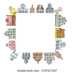 Square frame Multi-colored retro and vintage old-fashioned houses. Amsterdam. Watercolor hand drawing illustration