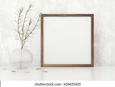 Square frame poster mock up with green plant in vase white stucco wall background. 3d rendering.