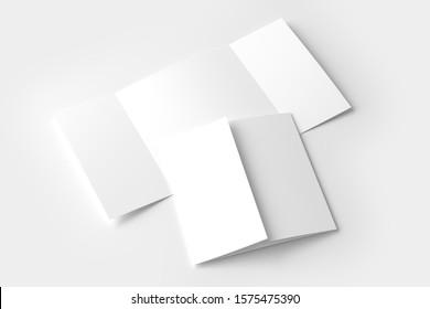 Square Gate Fold 3D Rendering White Blank Mockup