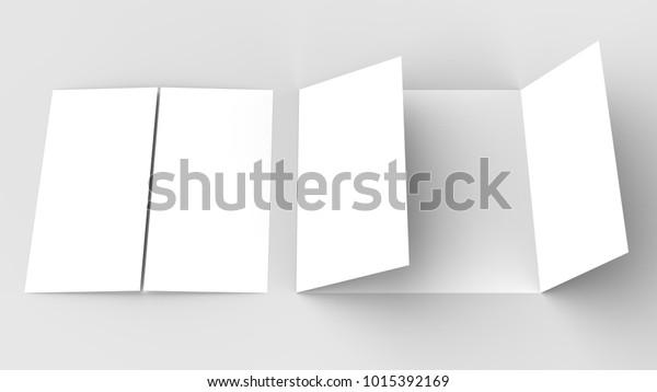 Square Gate Fold Brochure Mock Isolated Stock Illustration