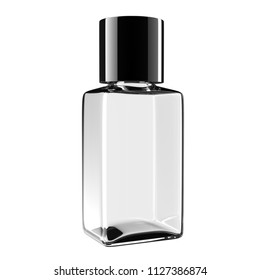 Square glass bottle with black lid, 3D illustration with clipping path
