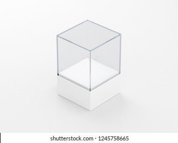 Square glass showcase box mockup with podium , front view isolated on gray, 3d rendering
