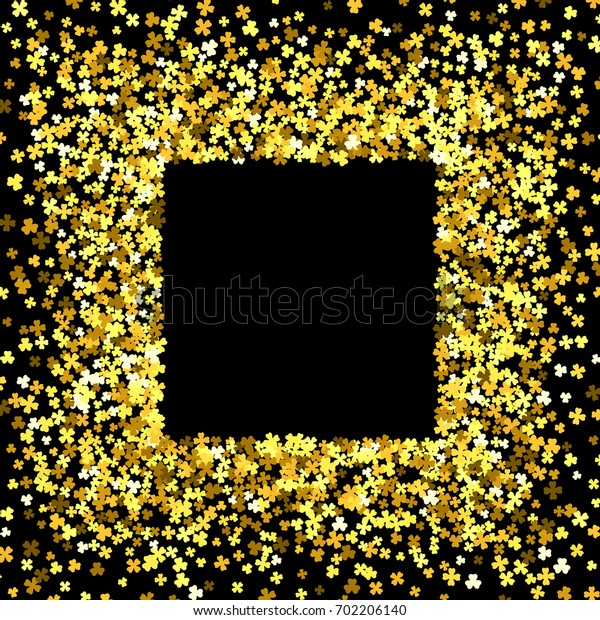 Square gold frame or border of random scatter clover leaves. Elegant St. Patricks day design for festive banner, greeting card, postcard, invitation, flyer, poster.