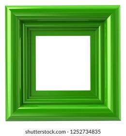 Square green frame 3d illustration isolated on white
