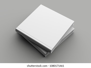 Square hard cover book mock up isolated on soft gray background. 3D illustrating