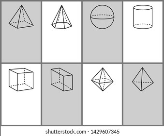 Square hexagonal pyramid sphere cylinder cube cuboid octahedron tetrahedron geometric shapes projections symmetric figures with dashes and lines