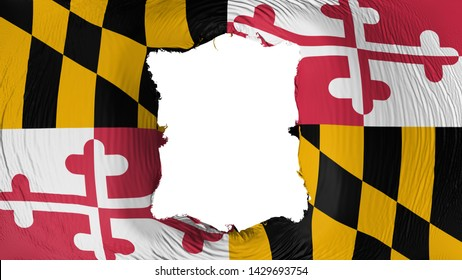 Square hole in the Maryland state flag, white background, 3d rendering