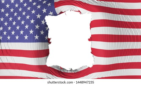 Square hole in the United States of America flag, white background, 3d rendering