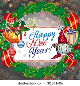 """Square holiday card with funny gnomes and greeting text """"Happy New Year!"""" Raster clip art."""