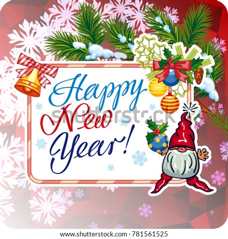 square holiday card with funny gnomes and greeting text happy new year raster