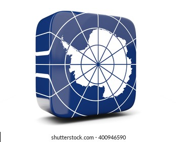 Square icon with flag of antarctica square isolated on white. 3D illustration
