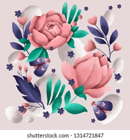 Square illustration-postcard with rose flowers, blue and green leaves, blue batterflies and pink hearts. Ideal for b-day cards, wedding decor, presents and gifts wrappings