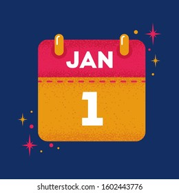 Square illustrator design of first date January of new year 2020