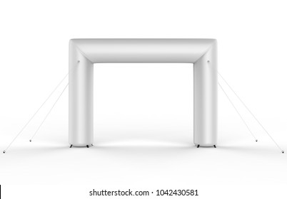 Square inflatable Archway Running sports Event Entrance Finish Line Triathlon Arch gate. 3d render illustration.