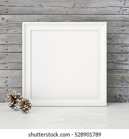 Square interior mock up with snowy pine cones on empty wooden wall background. 3D rendering.