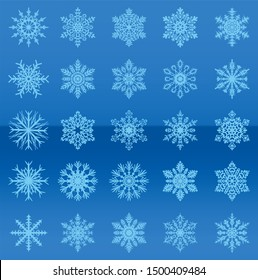 square layout. blue background with fine texture. New Year theme. snowflakes of different shapes and sizes. repeating elements.