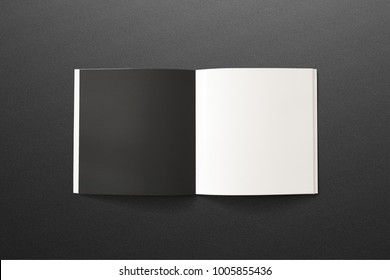Square Magazine with black and white opened pages on dark textured background. 3d illustration for your presentations.