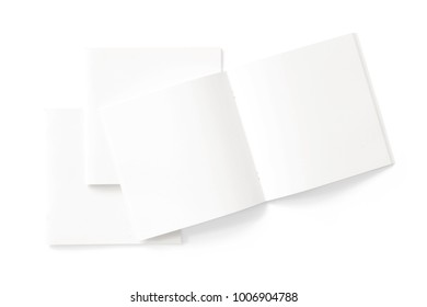 Square Magazines with blank soft cover and pages isolated on white. 3d illustration for your presentation.