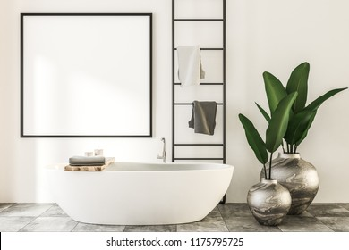 Square mock up banner frame hanging on stone tile wall of luxury spa bathroom. A bathtub, vases and a towel rack. Panoramic window with mountain view. Marketing and advertising concept. 3d rendering