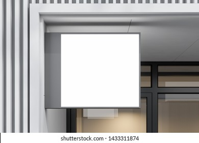 Square mock up sign for company name and promotion of product hanging on white business building wall. Concept of advertising. 3d rendering