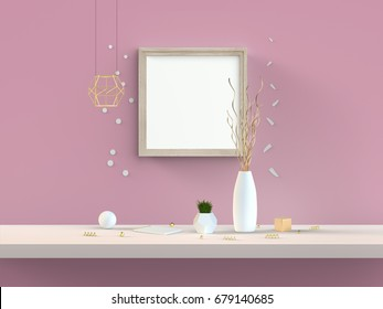 Square mockup frame on pink wall 3D illustration