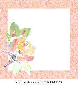 Square pattern frame. Decorative watercolor rose. Blank template for card, banner, invitation. Cute design, empty space.