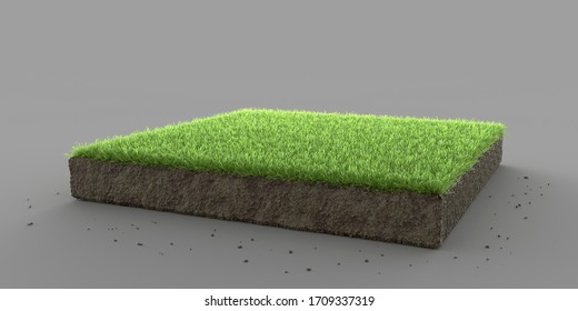 Square pedestal isolated section with grass. 3D illustration