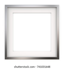 Square Picture Frame of Metal. 3D render of Classic Square Metal Frame with white Passe-partout. Blank for Copy Space.