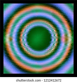 square piece of art with concentric rings with distorted wave pattern through them with green center
