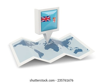 Square pin with flag of fiji on the map