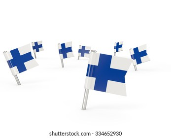 Square pins with flag of finland isolated on white