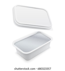 Square plastic container covered with foil for butter, melted cheese or margarine spread. Mockup isolated over the white background. Packaging template illustration.